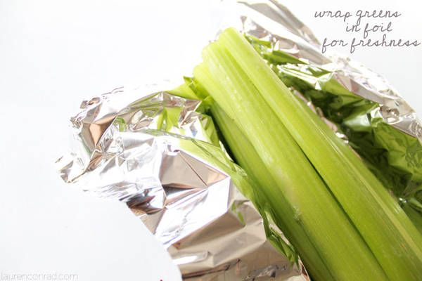 Wrap greens such as broccoli, lettuce, and celery in foil before popping them into your refrigerator