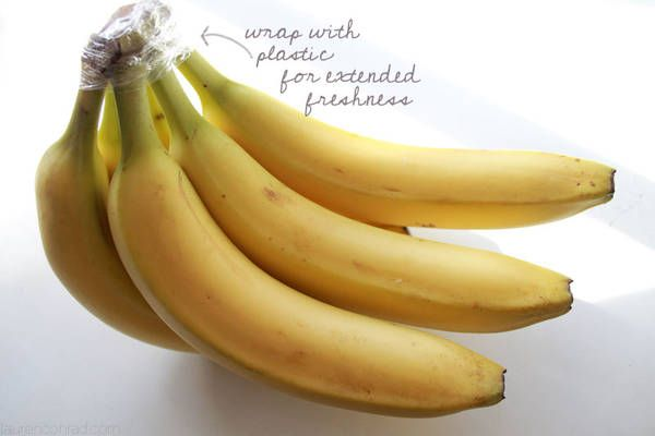 Wrap the top of bananas with plastic wrap and they should keep 3 to 5 days longer