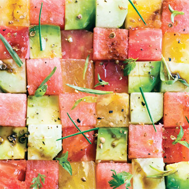 Tomato, Cucumber, Watermelon, and Avocado Salad