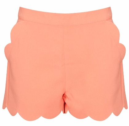 Apricot Scallop Hem Short by TopShop