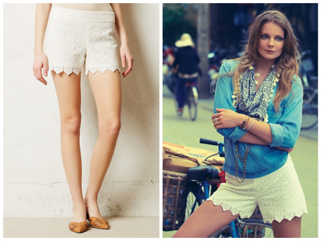 Scalloped Lace Shorts from Anthropologie