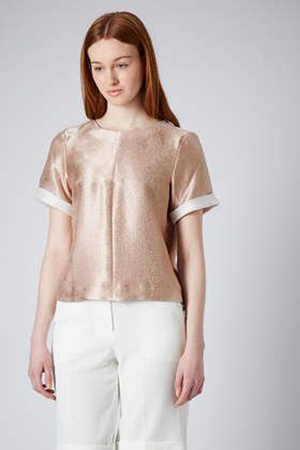 Topshop Rose Gold Textured Tee, $76.00