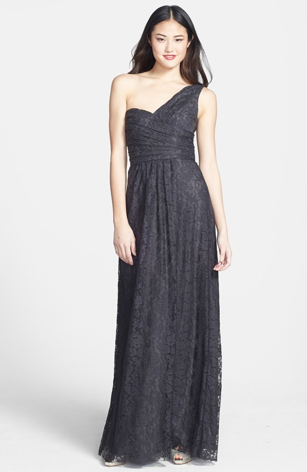 Amsale One Shoulder Lace Gown