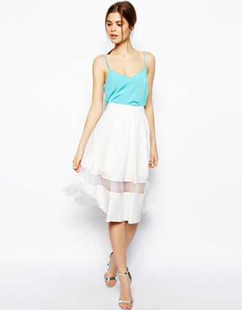 ASOS Woven Midi Skirt with Sheer Hem, $72.41