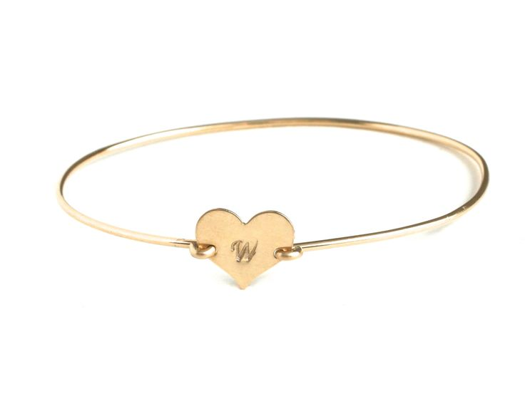 Wrenn Jewelry Heart Initial Bangle Bracelet