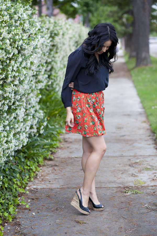 red floral skirt + navy blouse