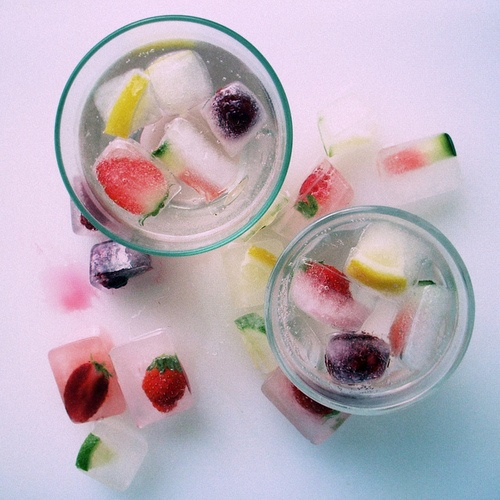 herbs & fruit in ice cubes