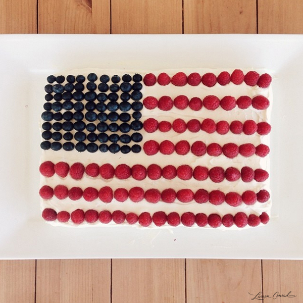 berry flag cake for the Fourth of July