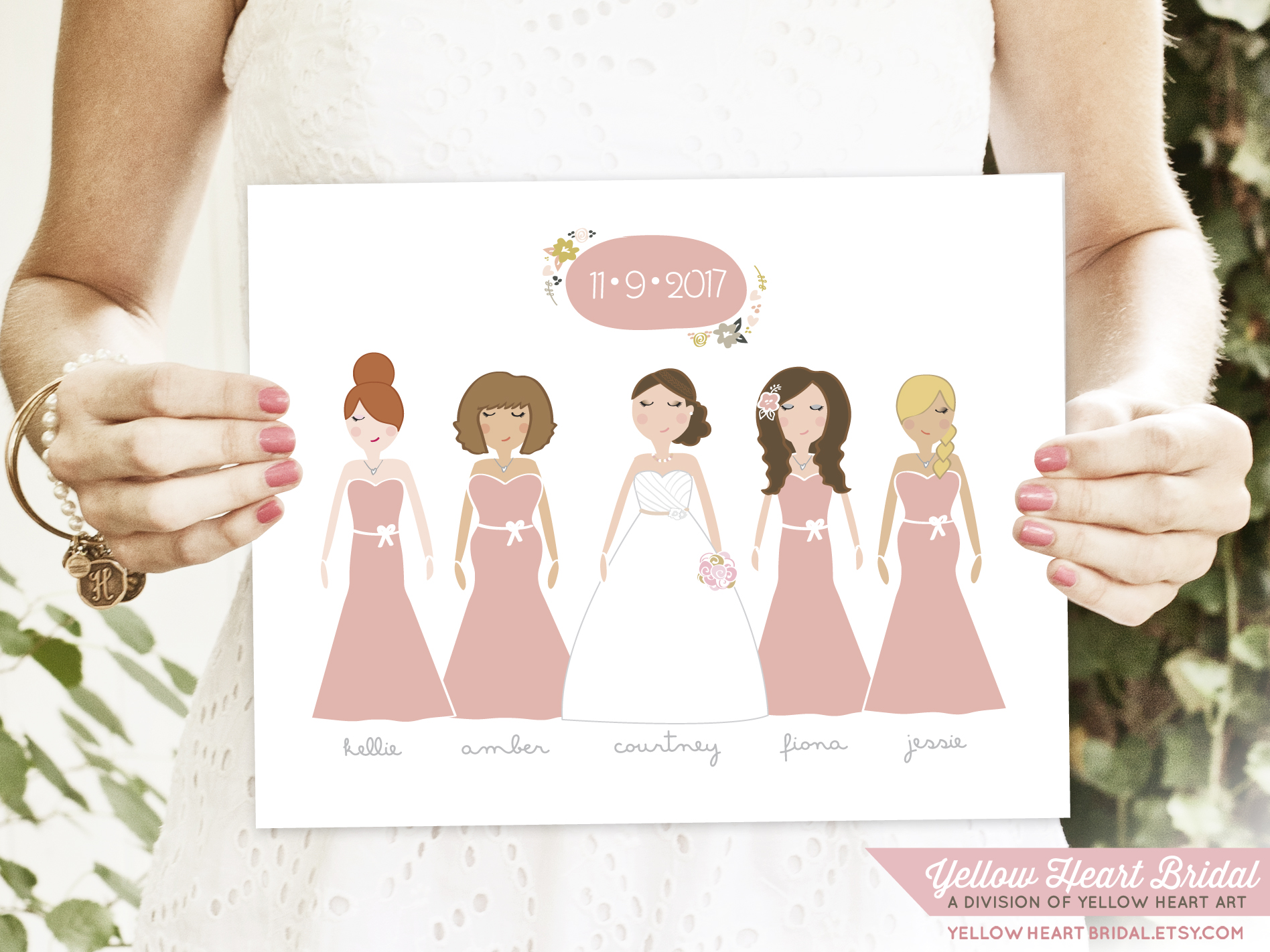 Yellow Heart Bridal custom bridesmaid portraits (1)