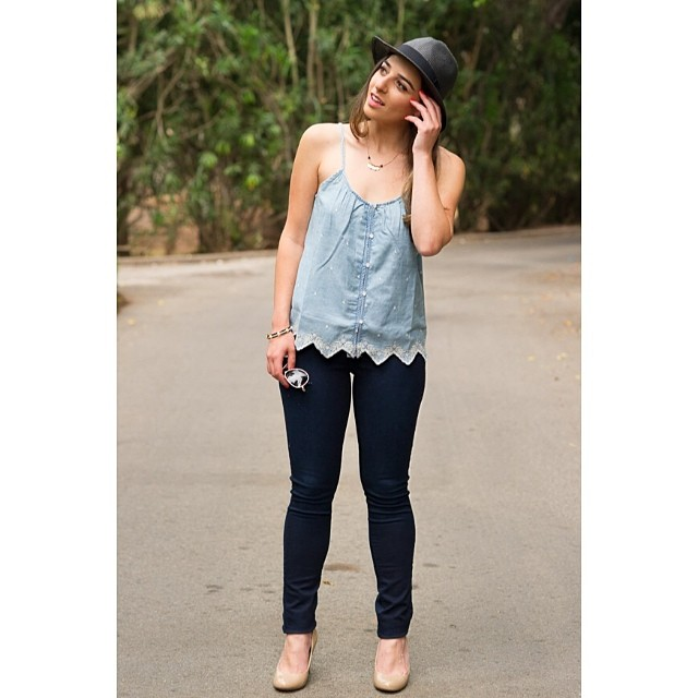 LC Lauren Conrad for Kohl's Embroidered Chambray Tank