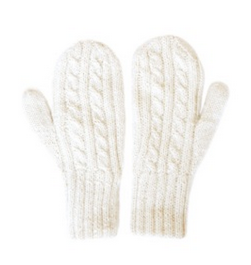 White Alpaca Mittens from The Little Market, $40