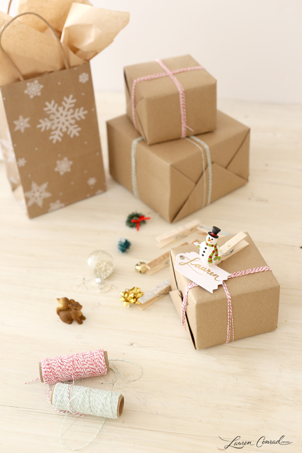 Holiday diy how to make clothespin gift tags lauren conrad for Gifts u can make