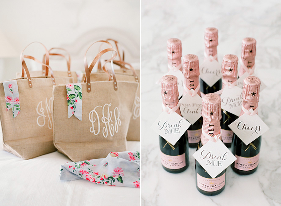 Monogrammed Tote Bags And Mini Champagne Bottles Make For Perfect Party Favors