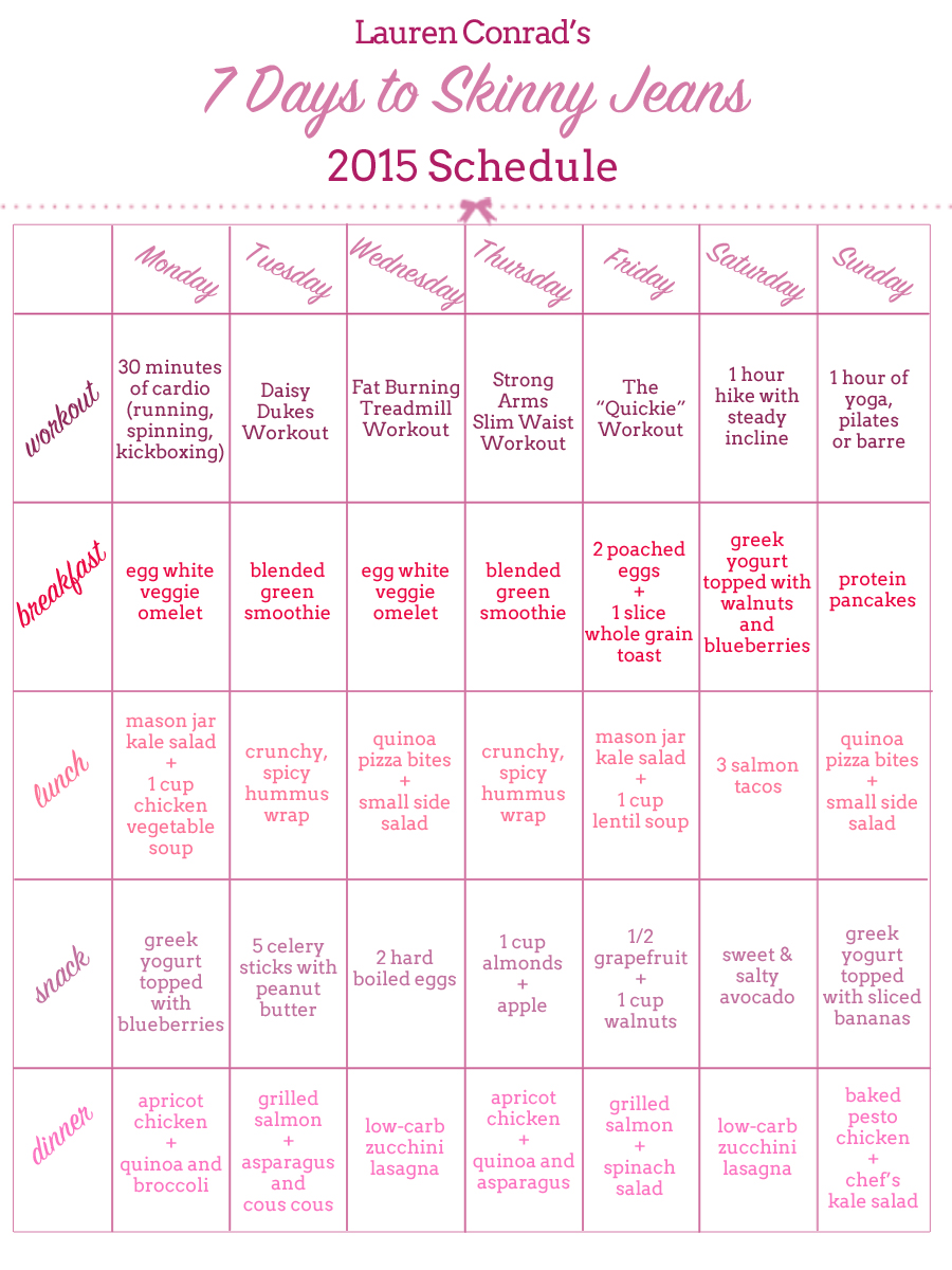 Shape Up My 7 Days To Skinny Jeans 2015 Schedule Lauren