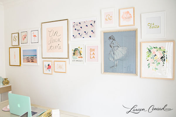 Gallery Wall home makeover: how to build a gallery wall - lauren conrad
