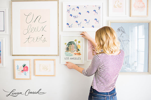 Gallery Wall Prints home makeover: how to build a gallery wall - lauren conrad
