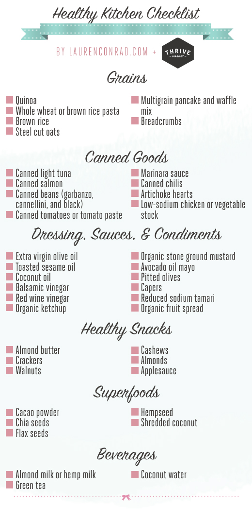 Good Eats The Healthy Kitchen Shopping List  Lauren Conrad