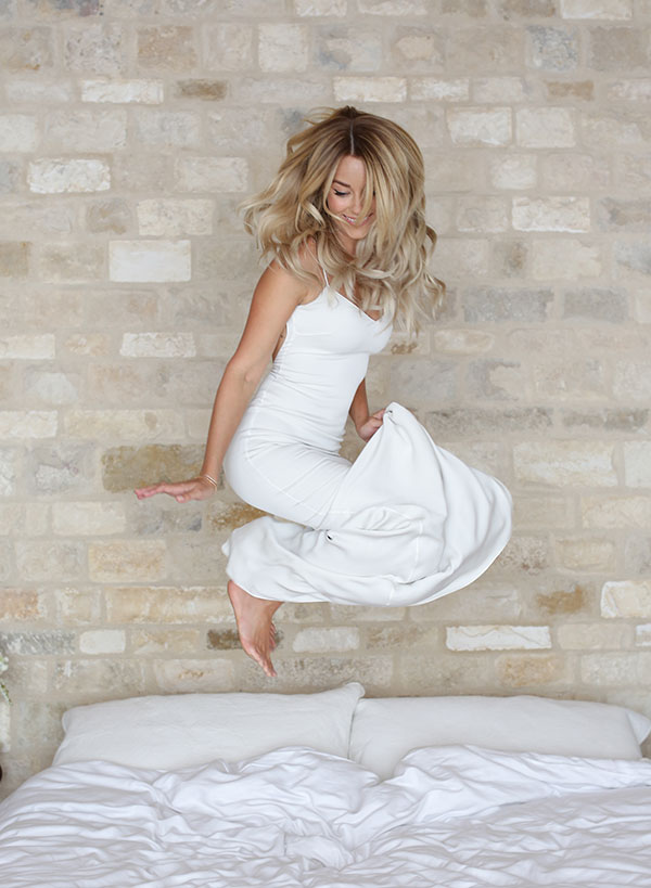 Nothing like jumping on the bed to calm your nerves!
