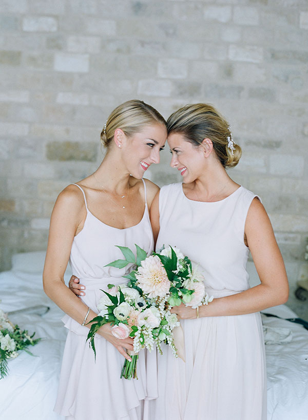 Lauren Conrad's bridesmaids wore blush Paper Crown dresses.