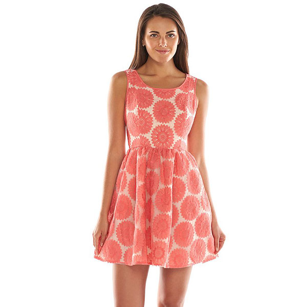 lc lauren conrad floral lace fit flare dress