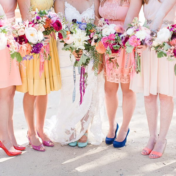 Pretty bouquet and bridesmaid dresses.