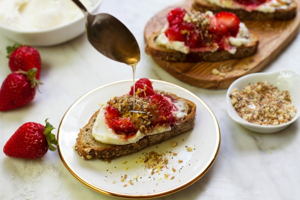 Mouth-watering smashed berry + ricotta toasts from Salt & Wind.