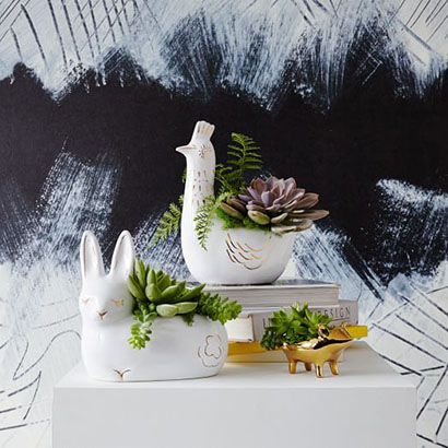 West Elm Ceramic Animal Planters