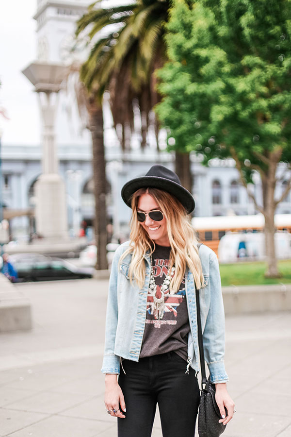 Felt hats, vintage band tees, and denim {award winning combo!}