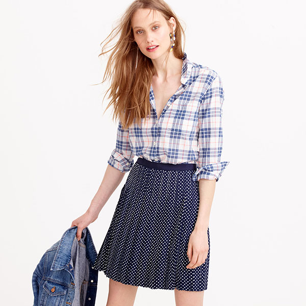 J.Crew Summerweight Shirt in Navy Plaid