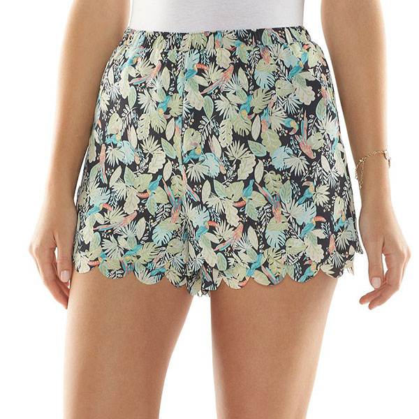 LC Lauren Conrad Scallop-Hem Soft Shorts.