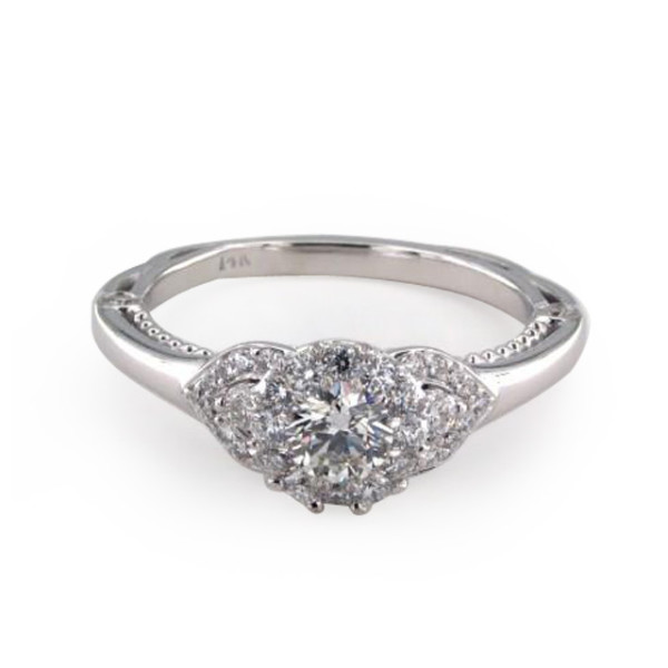 White Gold Royal Halo Charming Pave Shoulder Engagement Ring