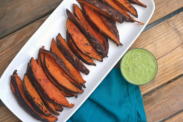Yam wedges with cilantro mango dipping sauce!