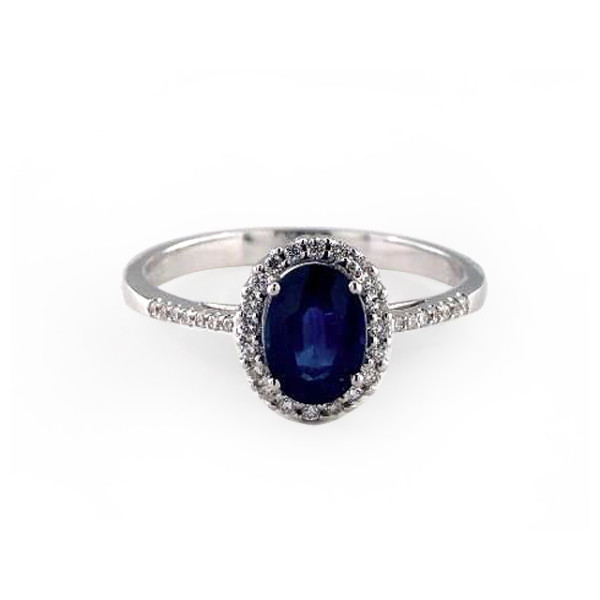 White Gold Pave Setting with Blue Sapphire
