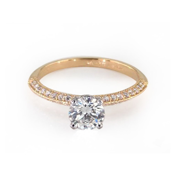 Yellow Gold Pave Band with Solitaire Diamond