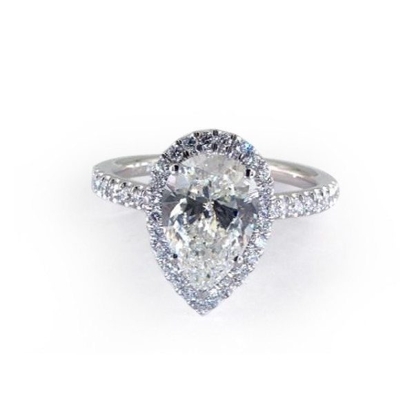 White Gold Pave Set Engagement Ring with Pear Diamond