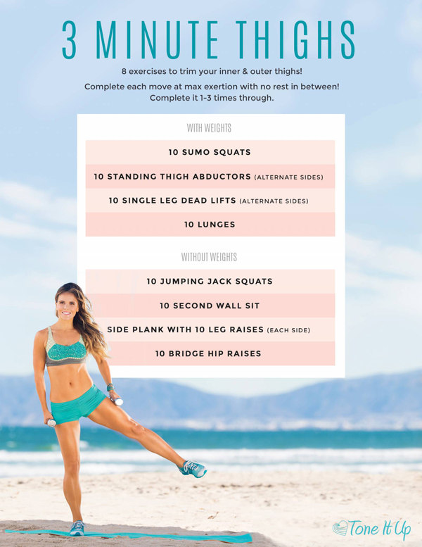It's time to tone those thighs with this 3 minute workout from Tone It Up!