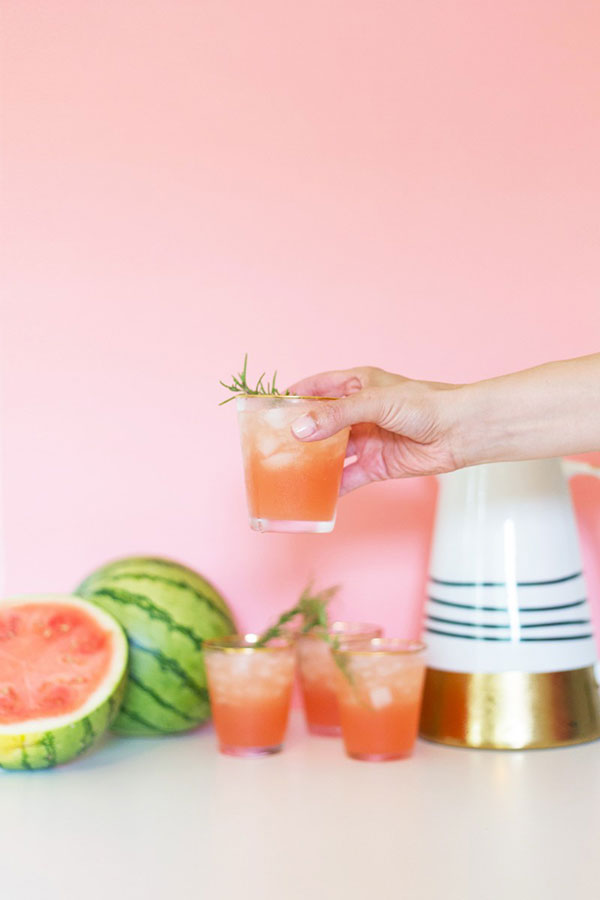 Spiked Watermelon Rosemary Punch via Lovely Indeed
