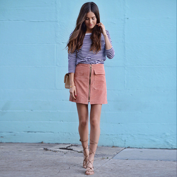 Suede and stripes. {via Blank Itinerary}