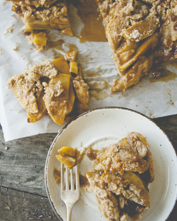 A pinch of salt completes the caramel apple bars.
