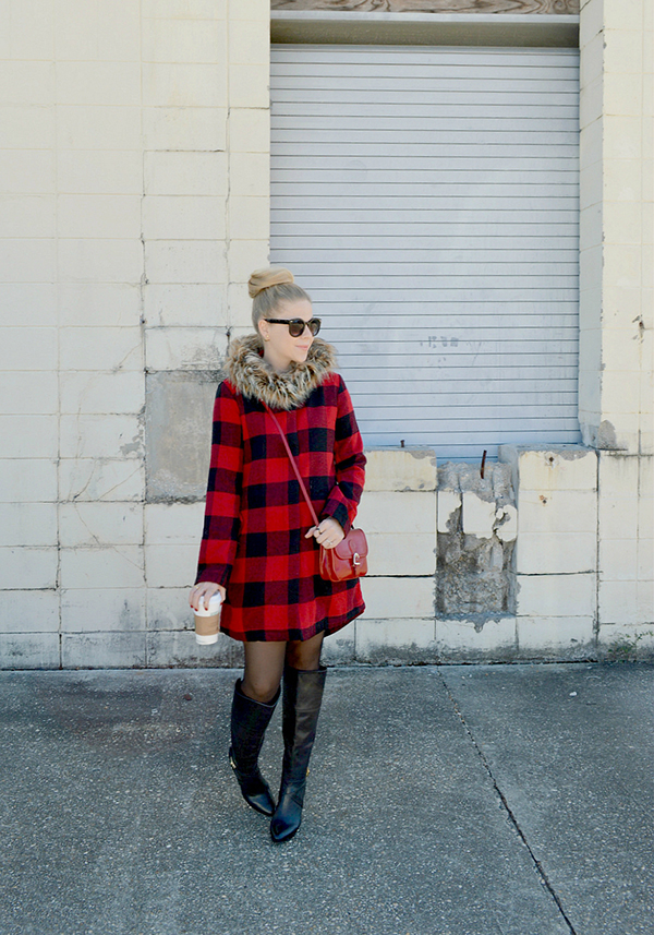 Luxe plaid and faux fur trim.