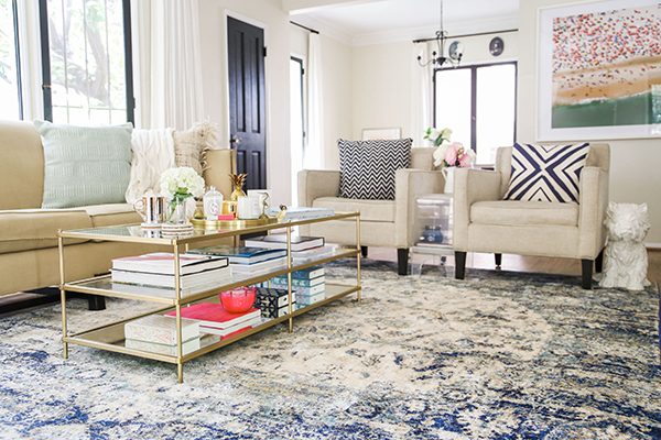 Home Makeover: A Bright & Airy Blue Themed Living Room - Lauren Conrad