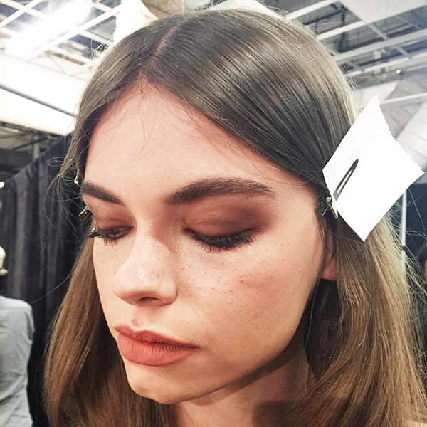 A sultry Brigitte Bardot inspired beauty look by TRESemme and MAC Cosmetics backstage at Rachel Zoe