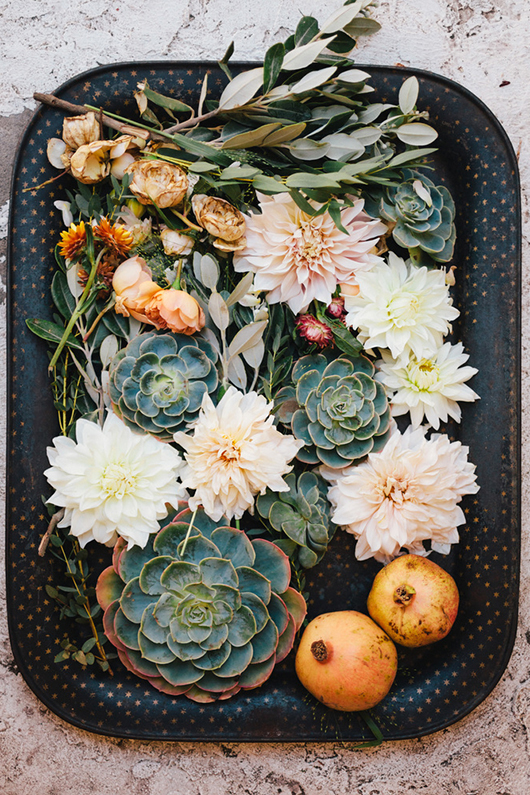 Favorite Florals (these pretty dahlias and succulents via SF Girl By Bay):