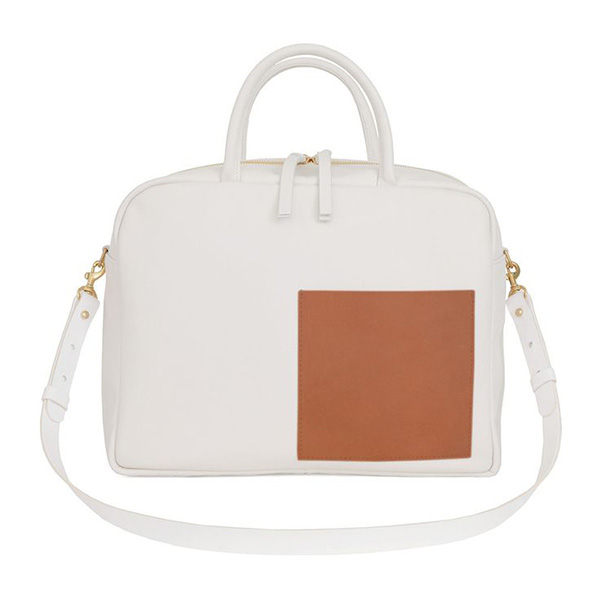 Clare V Claude Bag in White Amalfi