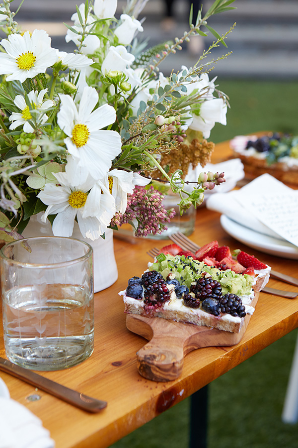 Whimsical blooms and a lunch too pretty to eat.