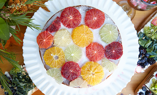 A delicious recipe for citrus and stone fruit stained glass cakes!