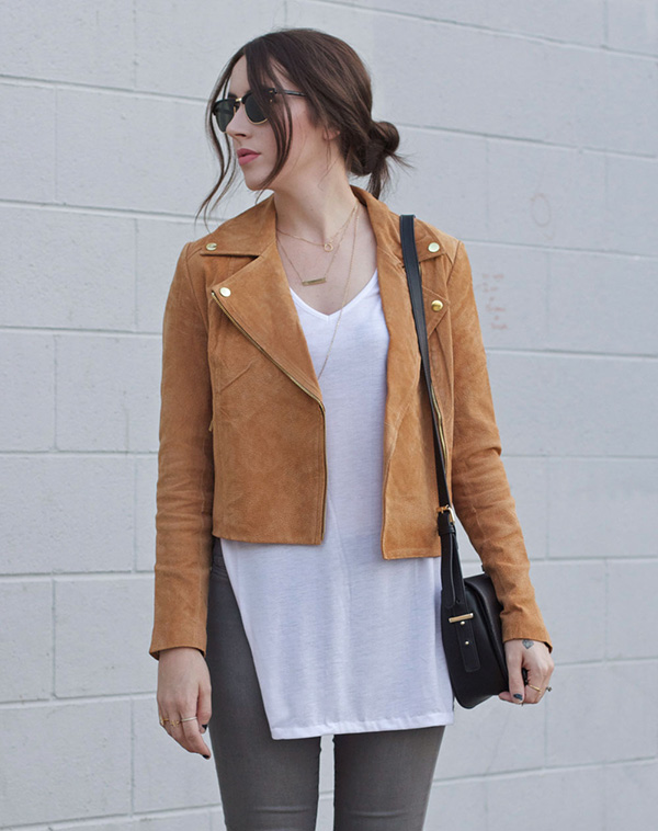 Less is more with this faux suede moto jacket.