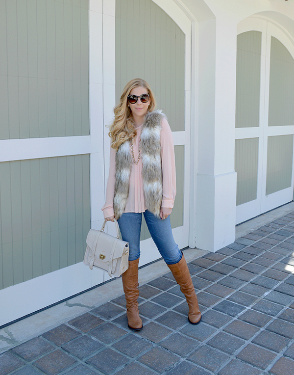 Dress down a fur vest with denim.