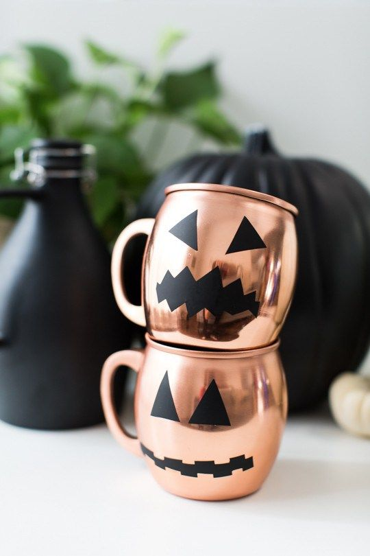 Favorite Halloween DIY (spooky Moscow mule mugs via Sugar & Cloth)