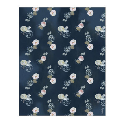 Our Heiday Blue Florals Wrapping Paper